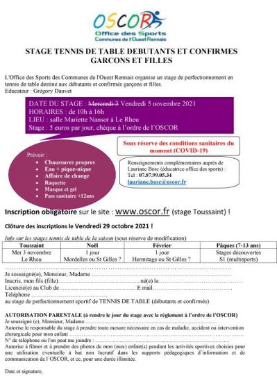 Tennis de table debutants et confirme inscription stage toussaint 2021 v2 modifie